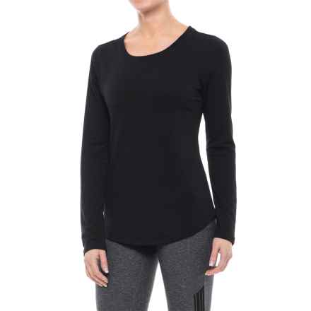 Yogalicious Keyhole Back Shirt - Long Sleeve (For Women) in Black - Closeouts