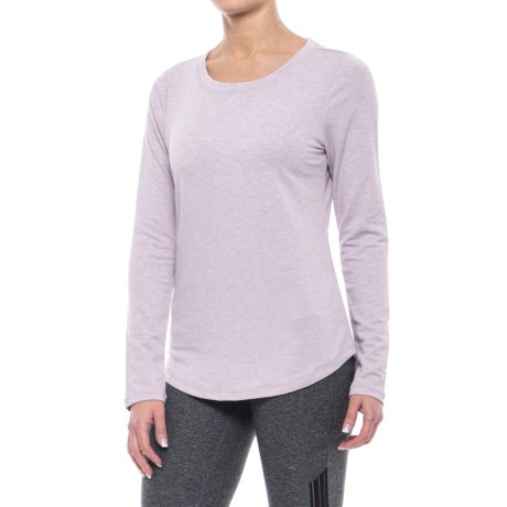 Yogalicious Keyhole Back Shirt - Long Sleeve (For Women) in Heather Petal Pink