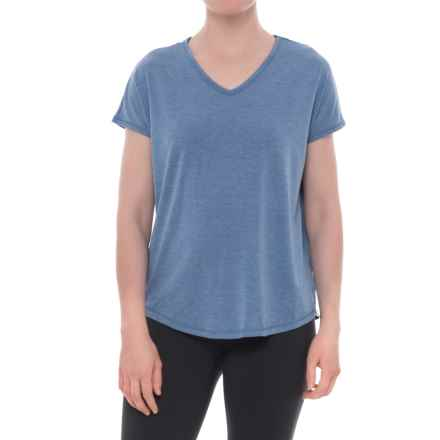 Yogalicious Keyhole Back T-Shirt - V-Neck, Short Sleeve (For Women) in Heather Rainfall - Closeouts