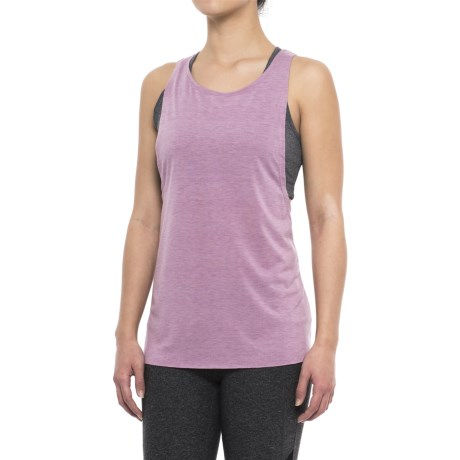Yogalicious Lace-Up Back Tank Top (For Women) in Heather Mauve