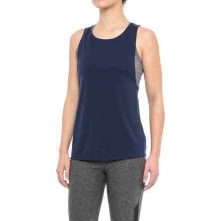 Yogalicious Lace-Up Back Tank Top (For Women) in Navy - Closeouts