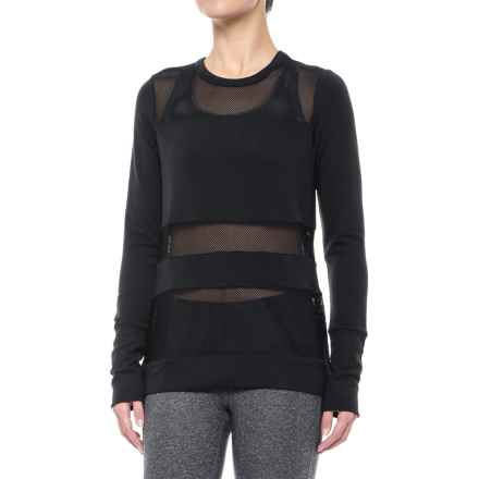 Yogalicious Mesh Insert Shirt - Long Sleeve (For Women) in Black - Closeouts