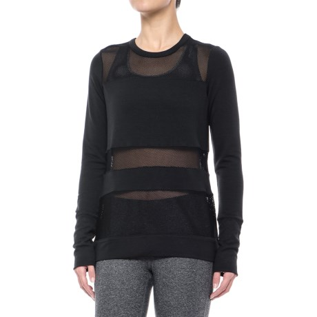 Yogalicious Mesh Insert Shirt - Long Sleeve (For Women) in Black