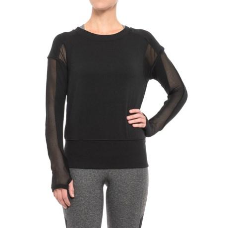 Yogalicious Mesh Open-Back Shirt - Long Sleeve (For Women) in Black