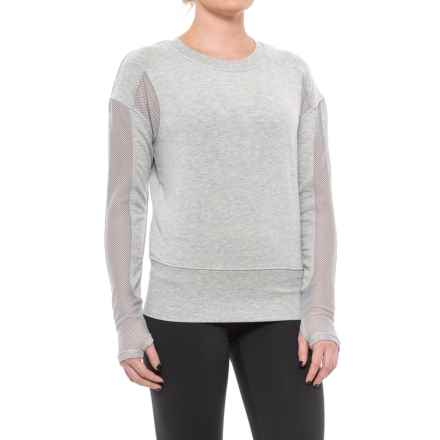 Yogalicious Mesh Open-Back Shirt - Long Sleeve (For Women) in Heather Grey - Closeouts