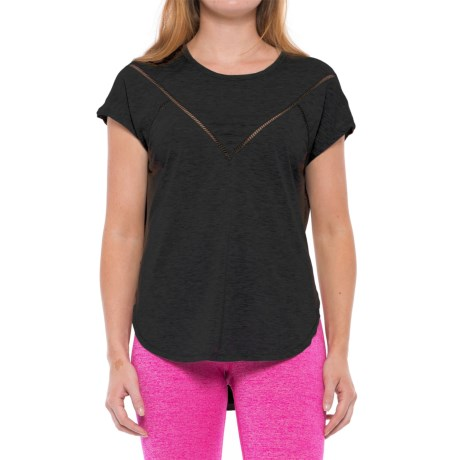 Yogalicious Mesh Tape High-Low Shirt - Short Sleeve (For Women) in Black