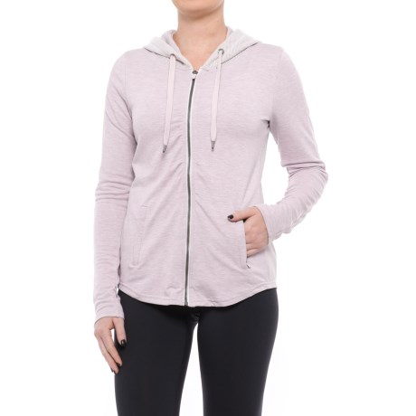 Yogalicious Mesh Zip-Up Hooded Jacket (For Women) in Heather Petal Pink