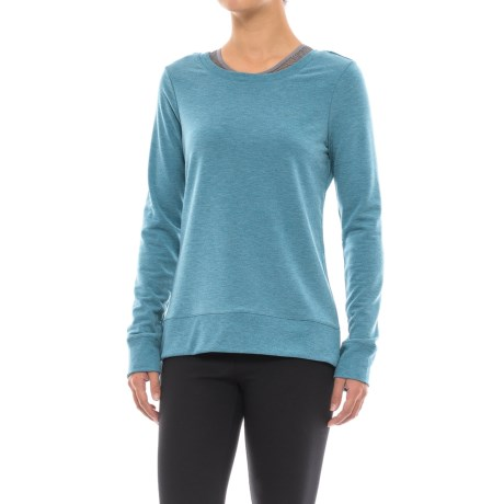 Yogalicious Missy Crisscross Back Shirt - Long Sleeve (For Women) in Heather Searcher Teal
