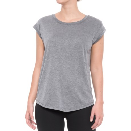 Yogalicious Open-Back Shirt - Short Sleeve (For Women) in Heather Blue Steel