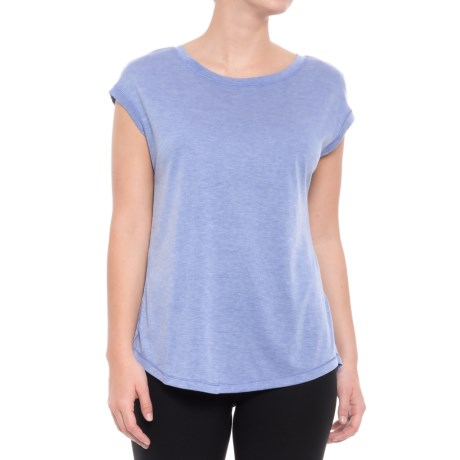 Yogalicious Open-Back Shirt - Short Sleeve (For Women) in Heather Muscari