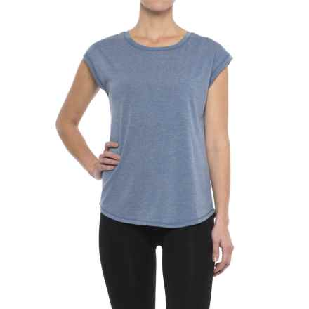 Yogalicious Open-Back Shirt - Short Sleeve (For Women) in Heather Rainfall - Closeouts