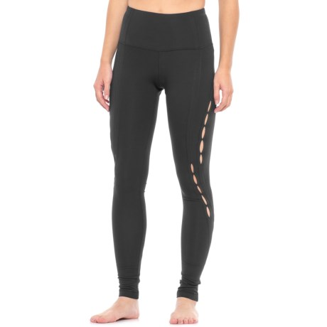 Yogalicious Side Peek Missy Leggings - High Waist (For Women) in Black