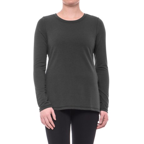 Yogalicious Side-Slit High-Low Shirt - Long Sleeve (For Women) in Black