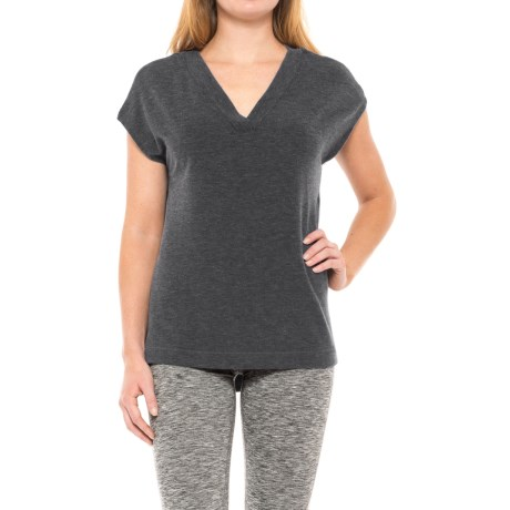 Yogalicious Side-Slit Shirt - Short Sleeve (For Women) in Heather Charcoal