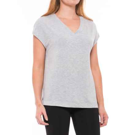 Yogalicious Side-Slit Shirt - Short Sleeve (For Women) in Heather Grey - Closeouts