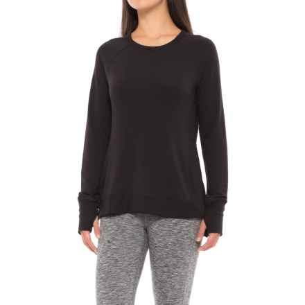Yogalicious Side Split Shirt - Long Sleeve (For Women) in Black - Closeouts