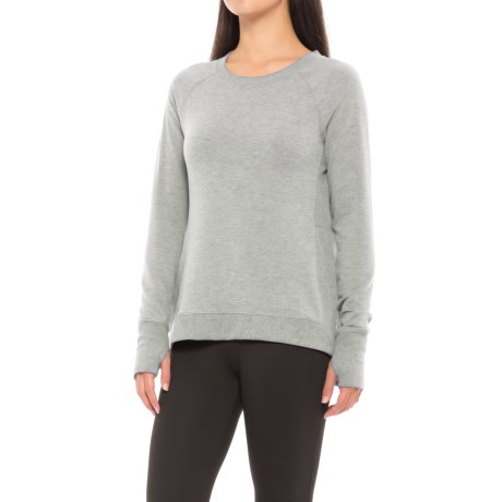 Yogalicious Side Split Shirt - Long Sleeve (For Women) in Heather Grey