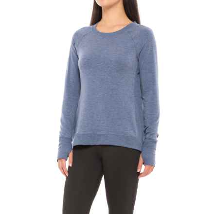 Yogalicious Side Split Shirt - Long Sleeve (For Women) in Heather Sailor Blue - Closeouts