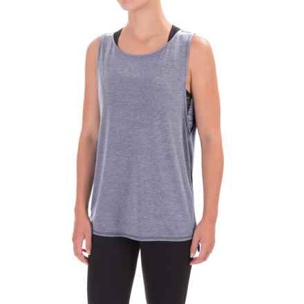 Yogalicious Side-Split Tank Top (For Women) in Heather Martime Navy - Closeouts