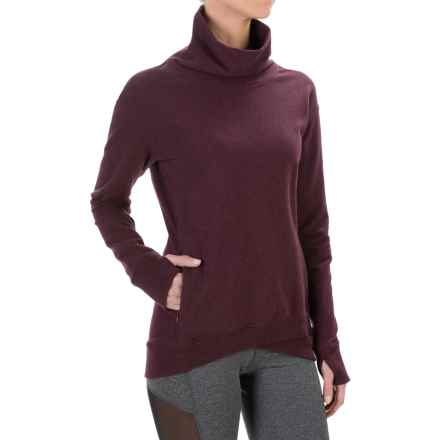 Yogalicious Stretch Cotton Shirt - Long Sleeve (For Women) in Heather Merlot - Closeouts