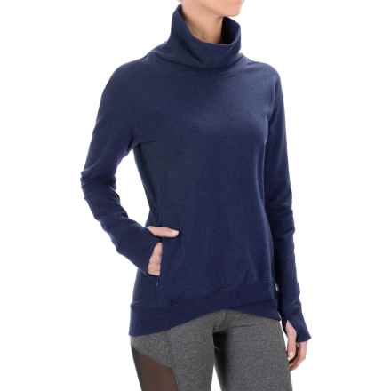 Yogalicious Stretch Cotton Shirt - Long Sleeve (For Women) in Heather Navy - Closeouts