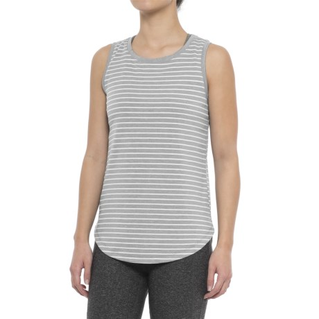 Yogalicious Tank Top (For Women) in Heather Grey/White Stripe