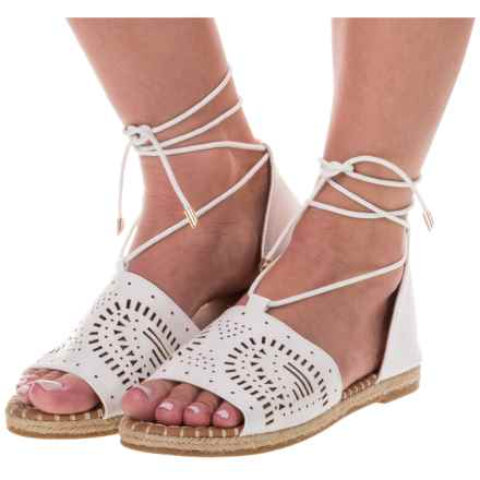 Yoki Iric Espadrille Sandals - Vegan Leather (For Women) in White - Closeouts