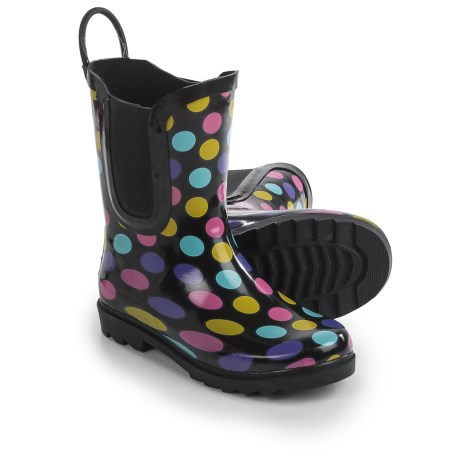 Yokids I Love YoKids Splash Me Elaina Polka-Dot Rain Boots (For Little and Big Girls) in Black