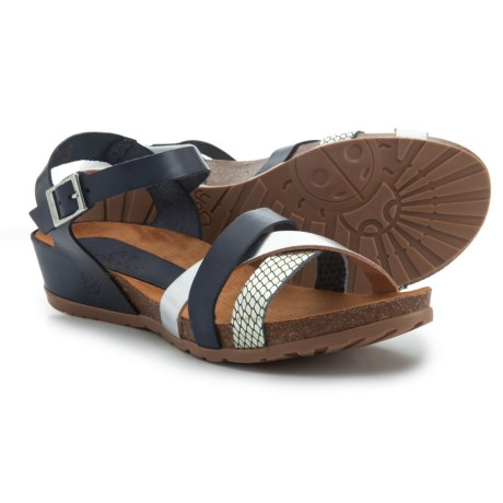 Yokono Made in Spain Capris 006 Wedge Sandals - Leather (For Women) in Multi Navy/Silver Met/Snake