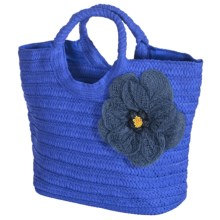Young's Inc. Straw Bag with Flower in Blue - Closeouts