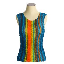 Younique Clothing Wrinkled Tank Top (For Women) in Blue Multi - Closeouts