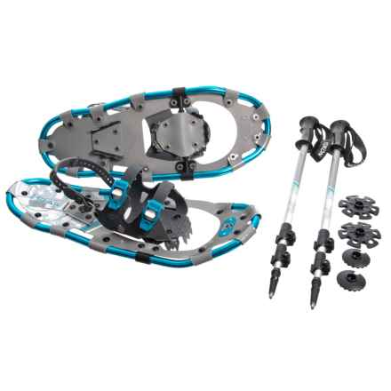 """Yukon Charlie's 821 Trail Snowshoes Kit with Ratchet Bindings and Poles - 21"""" in Blue - Closeouts"""