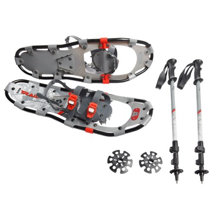"Yukon Charlie's Yukon Charlie's 825 Trail Snowshoes Kit with Poles - 25"" in Black"