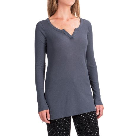 Yummie by Heather Thomson Baby Rib Shirt - V-Neck, Long Sleeve (For Women) in Ombre Blue