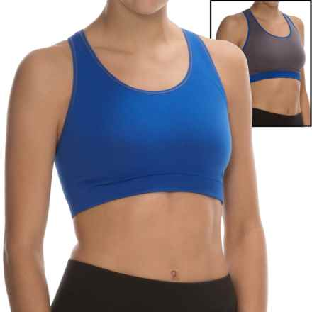 Yummie by Heather Thomson Chelsea Reversible Sports Bra - Medium Impact (For Women) in Dazzling Blue/Shark - Overstock