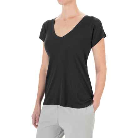 Yummie by Heather Thomson Cotton-Modal T-Shirt - V-Neck, Ribbed Knit (For Women) in Black - Closeouts