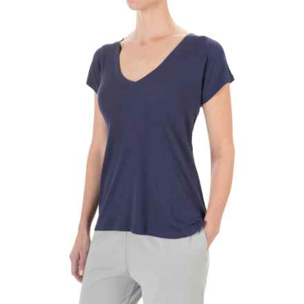 Yummie by Heather Thomson Cotton-Modal T-Shirt - V-Neck, Ribbed Knit (For Women) in Eclipse - Closeouts