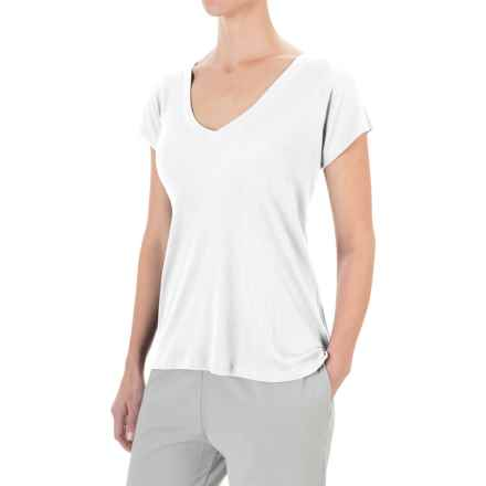 Yummie by Heather Thomson Cotton-Modal T-Shirt - V-Neck, Ribbed Knit (For Women) in White - Closeouts