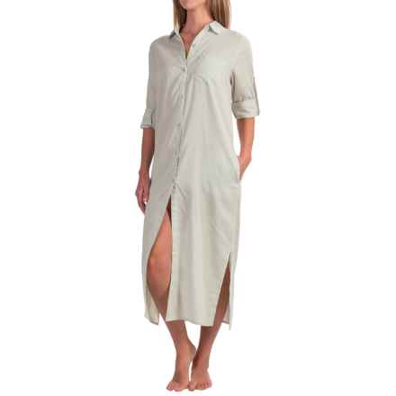Yummie by Heather Thomson Cotton Voile Nightshirt - Button-Down Collar, Long Sleeve (For Women) in Mineral Gray - Closeouts