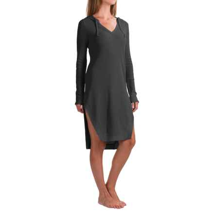 Yummie by Heather Thomson Hoodie Night Shirt - Long Sleeve (For Women) in Black - Closeouts