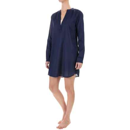 Yummie by Heather Thomson Voile Nightshirt - Mandarin Collar, Long Sleeve (For Women) in Evening Blue - Closeouts