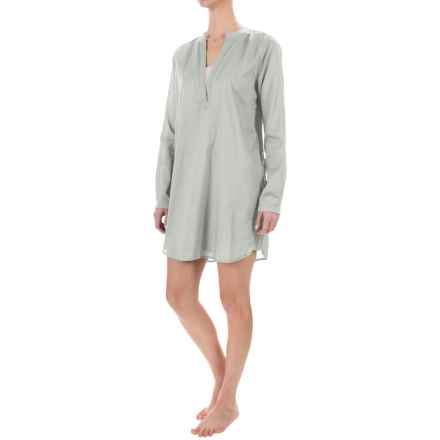 Yummie by Heather Thomson Voile Nightshirt - Mandarin Collar, Long Sleeve (For Women) in Mineral Gray - Closeouts
