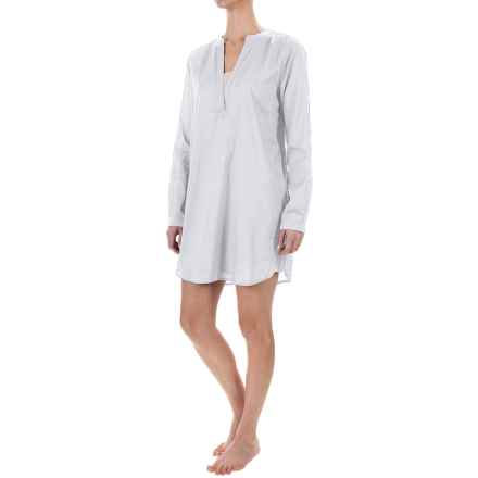 Yummie by Heather Thomson Voile Nightshirt - Mandarin Collar, Long Sleeve (For Women) in White - Closeouts