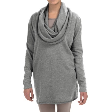 Yummie Tummie Dropped Shoulder Cowl Neck Pullover Shirt Long Sleeve For Women