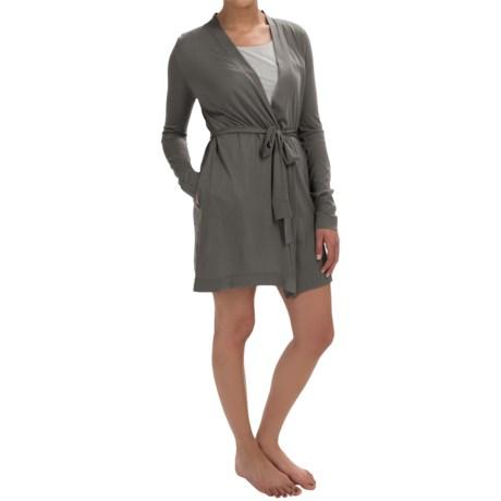 Yummie Tummie Jersey Knit Short Robe Long Sleeve (For Women)