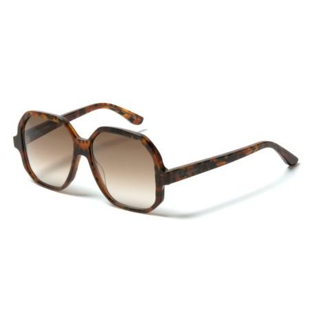 Yves Saint Laurent SL 132 Large Rectangular Fashion Sunglasses (For Women) in Havana Brown