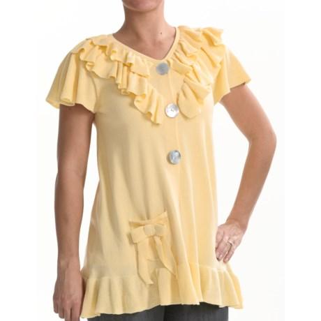 Z Ruffled Baby Doll Cardigan Shirt - Short Sleeve (For Women) in Lemon Chiffon