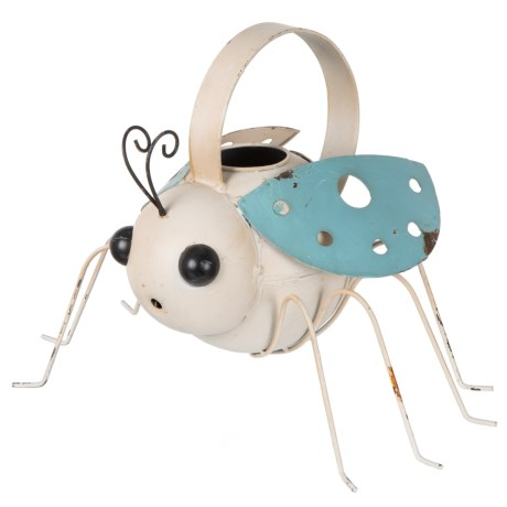 """Zaer Antique Painted Ladybug Watering Can - 8.25x11x7"""" in Cream/Blue"""