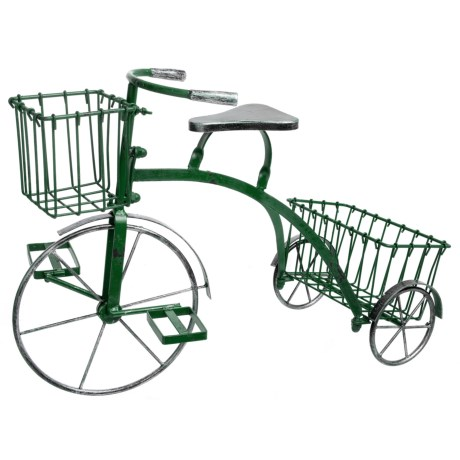 Zaer Small Tricycle Plant Stand in Antique Green