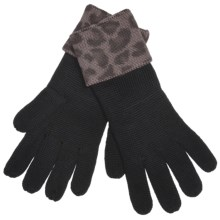Zazou Animal-Print Cuff Gloves (For Women) in Seal Grey Leopard - Closeouts